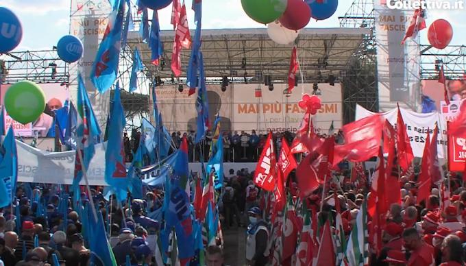 """In 100mila in piazza a Roma, Landini: """"Difendiamo la democrazia"""""""