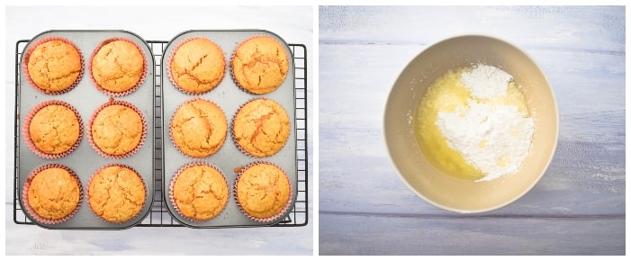Vegan Lemon Muffins - Step 6 (baked muffins and ingredients for icing in bowl)