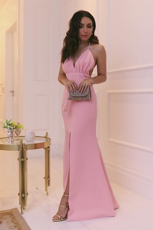 vestido longo rose para casamento