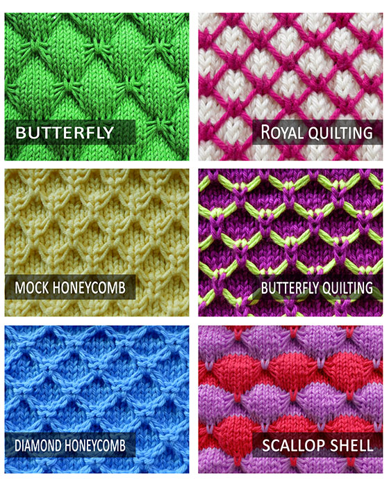 6 free stitch pattern that use Knit 1 Under Loose Strands technique. Easy to do and look beautiful!