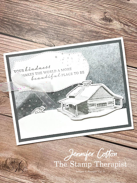 Stampin' Up! Peaceful Cabin Bundle card.  To make this card, I also used the White Glittered Organdy Ribbon and Peaceful Place Specialty Designer Series Paper (DSP).  Video link, measurements, and supply list on blog.  #StampinUp #StampTherapist #PeacefulCabin