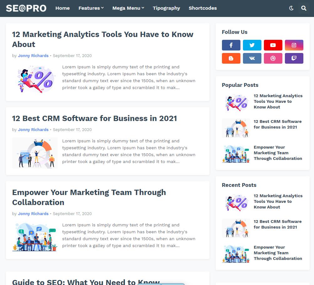 SeoPro best free responsive blogger templates
