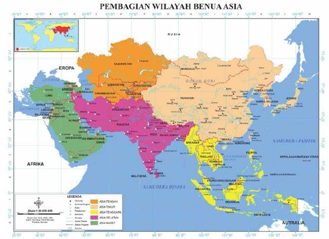 Batas Wilayah Benua Asia di Sebelah Utara, Timur, Barat, dan Selatan
