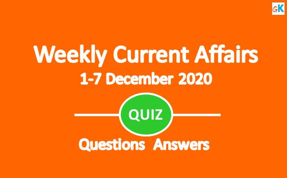 Weekly Current Affairs Quiz 1 December - 7 December, 2020
