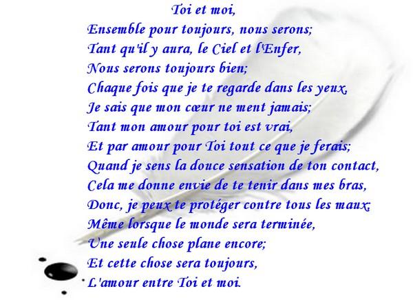 Message d'Amour et d'Amitié: Carte Poème d'amour , Toi et moi
