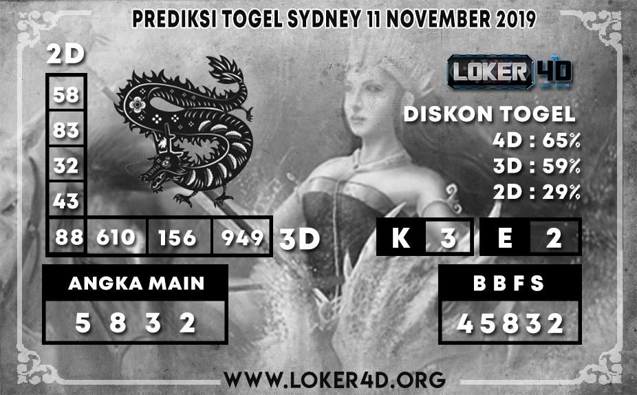 PREDIKSI TOGEL SYDNEY LOKER4D 11 NOVEMBER 2019
