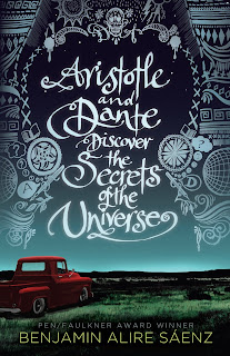 "A red truck in a grassy field at night. Large text in the darkening sky reads ""ARISTOTLE AND DANTE DISCOVER THE SECRETS OF THE UNIVERSE"""