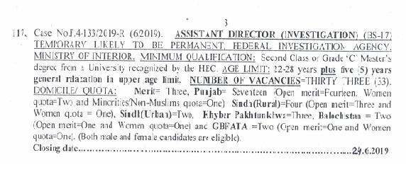 FIA Latest jobs Assistant Director Jobs | 2019
