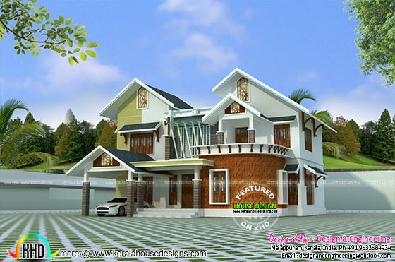 Modern mix roof house design