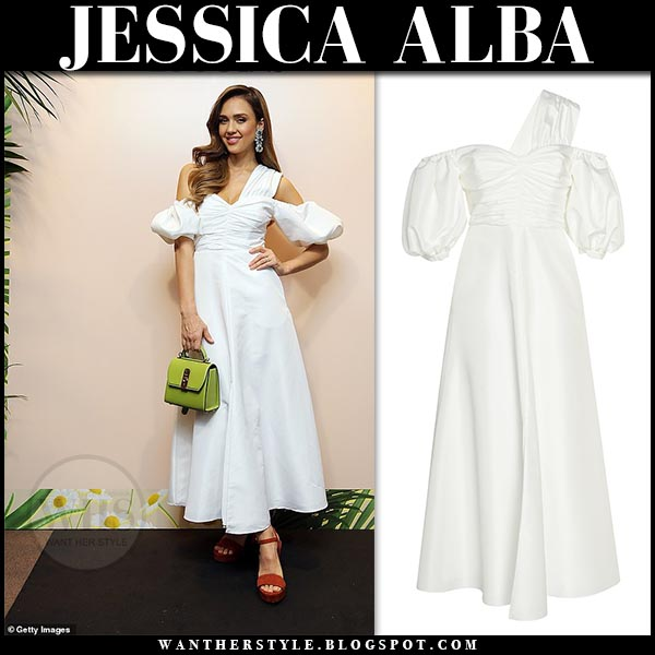 6e73d8abbf Jessica Alba in white one shoulder dress with puff sleeves from Self  Portrait. Celebrity spring