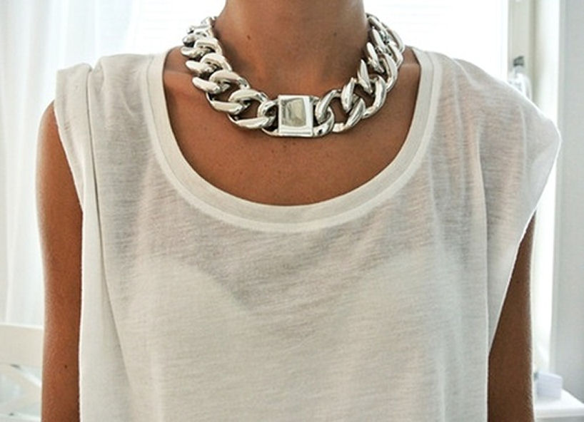 silver chain ID necklace