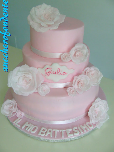 Zuccherofondente Torta Battesimo Con Rose In Wafer Paper