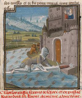 Lancelot pasando por el puente de la espada