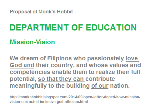 Proposed mission-vision of the department of education