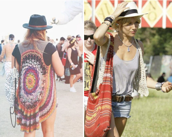 Looks crochê festival música top colete