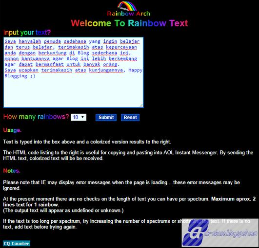 Cara Membuat Tulisan warna-warni/Reinbow di Postingan