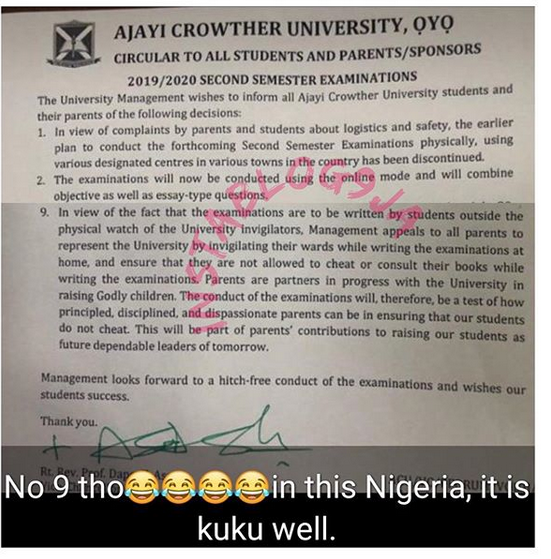 Ajayi Crowther University beg Parents to Invigilate their Kids During Online Exams to Prevent Cheating