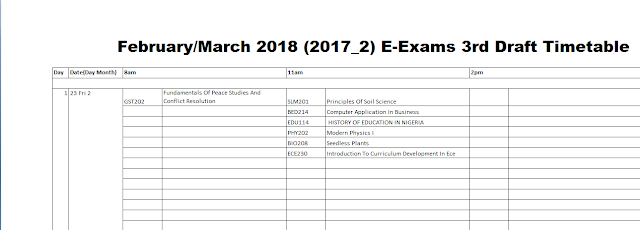 Download 2018 NOUN e-Exam time table 3rd draft released 16 february 2018