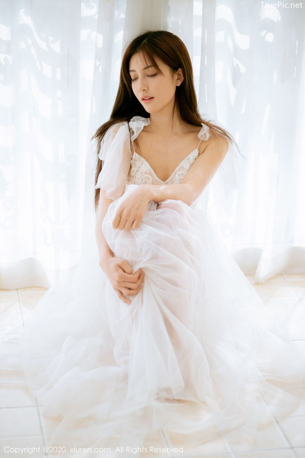 XIUREN No.1914 - Chinese model 林文文Yooki so Sexy with Transparent White Lace Dress - Picture 10