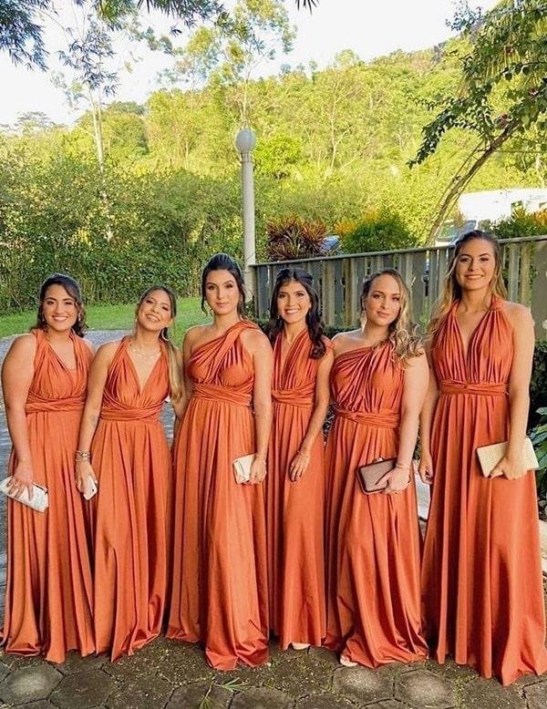 madrinhas de vestidos terracota