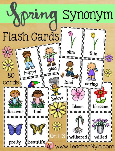 Spring themed Synonym Flashcards