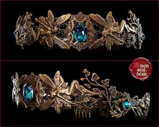 couronne tiare féerique diadème fée médiéval elfique bronze bleu turquoise crown fairy elven circlet tiara elvish elf faery blue