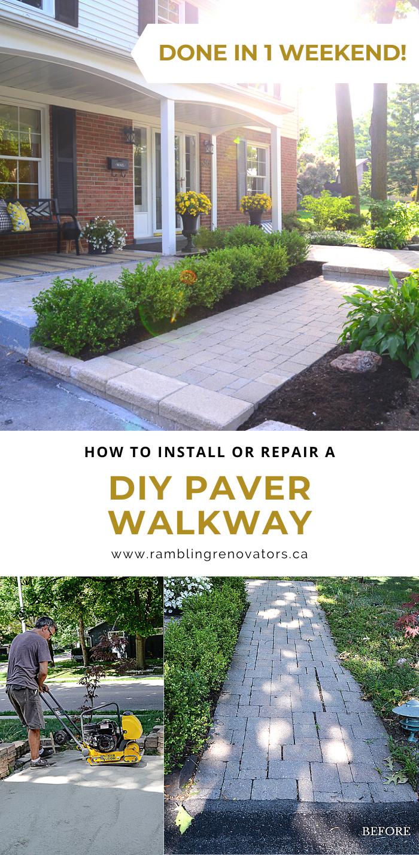 diy paver walkway, paver walkway installation, how to repair walkway
