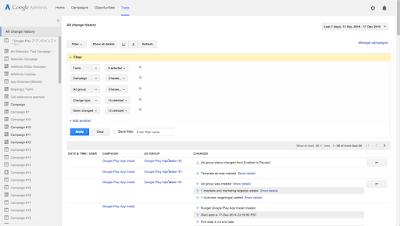 Google Adwords tool - Công cụ Change History (Lịch sử thay đổi)
