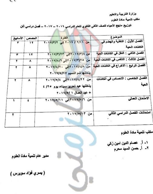 توزيع منهج الاحياء للصف الثاني الثانوي 2017