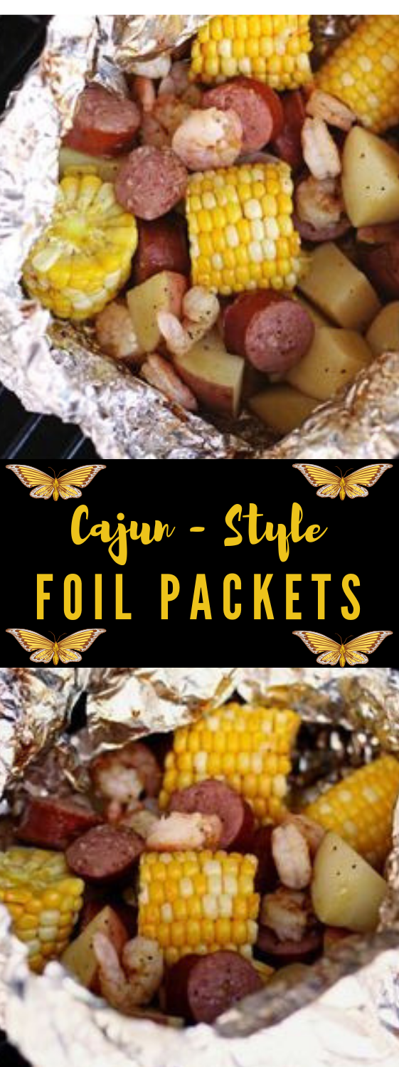 Cajun Shrimp Foil Packets #corn #vegetarian #vegan #yummy #easy