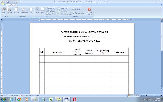 Format daftar inventaris ruang kepala sekolah