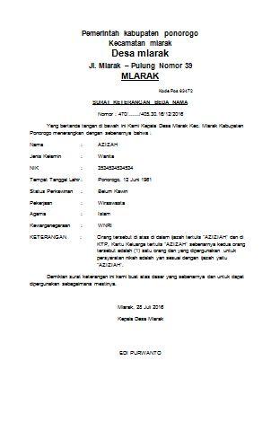 Contoh Surat keterangan Beda Nama Ijazah dan KK