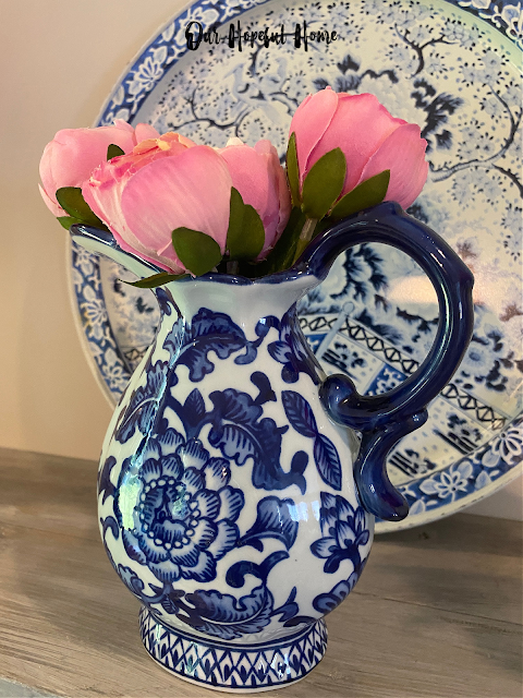blue white creamer pitcher Bombay Company pink flowers