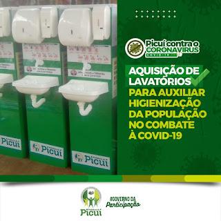 Prefeitura de Picuí adquire lavatórios para auxiliar na higienização das mãos dos picuienses