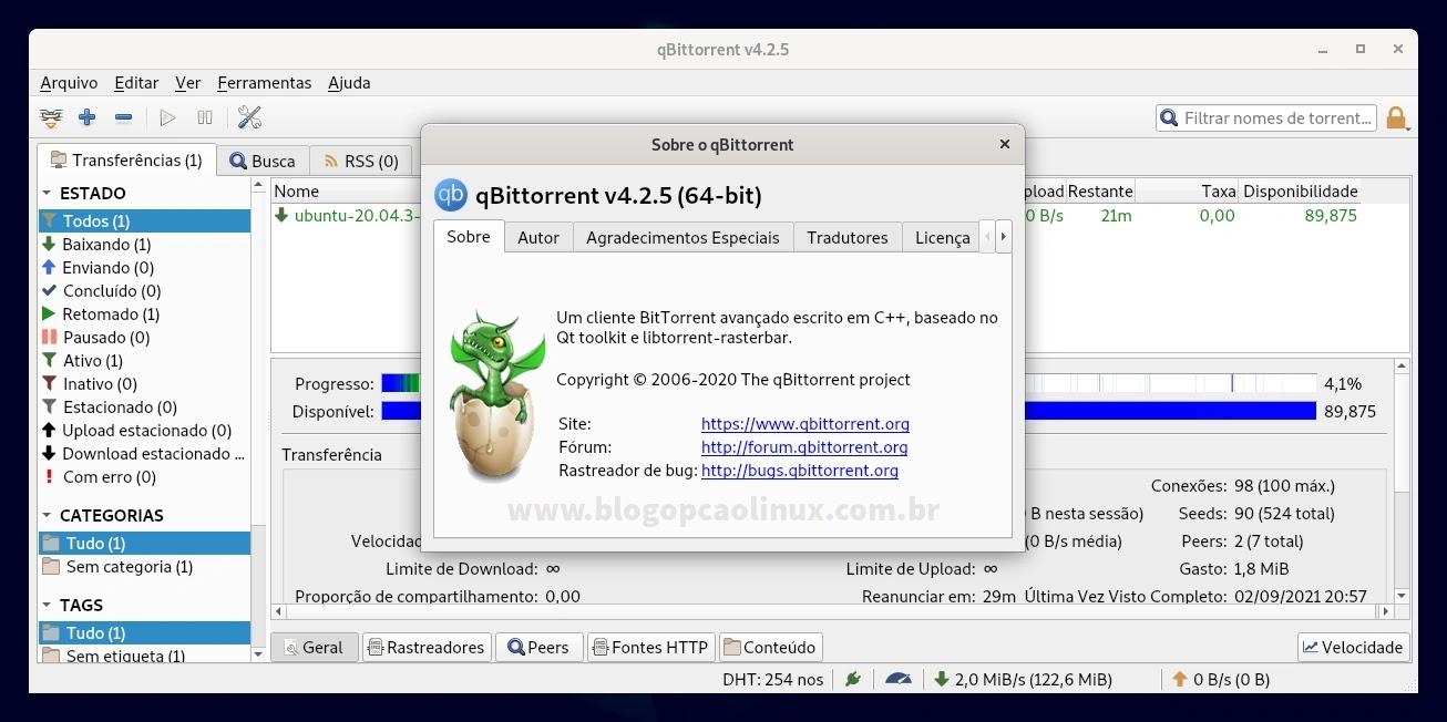 qBittorrent executando no Debian 11 Bullseye