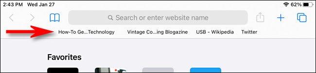 مثال على شريط المفضلة في Safari على iPad.