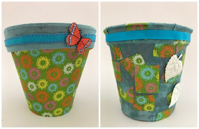 Fabric covered flower pots tutorial
