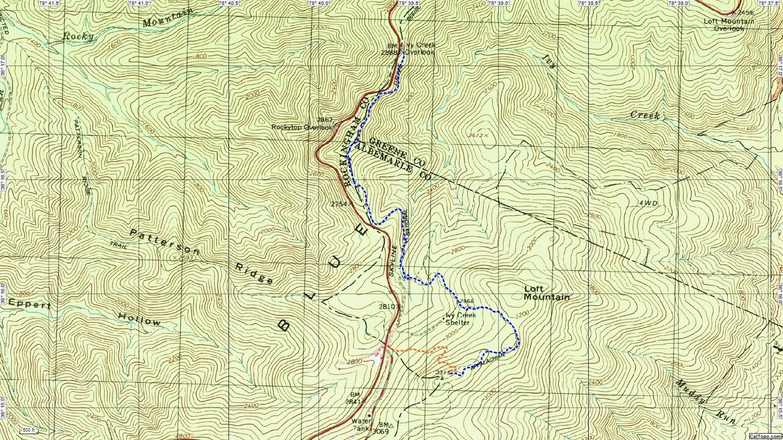 topographic map with gps route