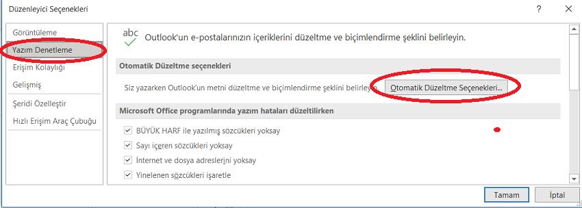 Outlook'ta Otomatik Düzeltme Seçenekleri