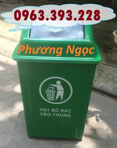Thùng rác nhựa nắp bập bênh, thùng rác 60 Lít nắp lật, thùng rác công cộng NBB60L4
