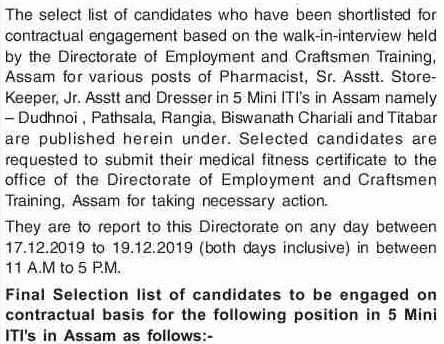 DECT Assam Select List 2019 Notice