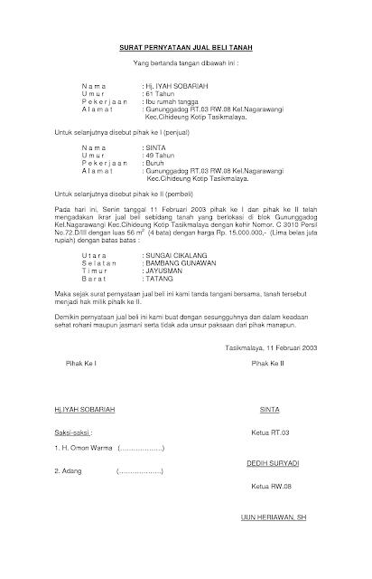 surat perjanjian jual beli tanah beserta pasal-pasalnya
