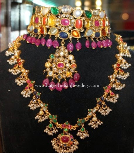 Navaratna Choker And Haram Set Latest Indian Jewellery
