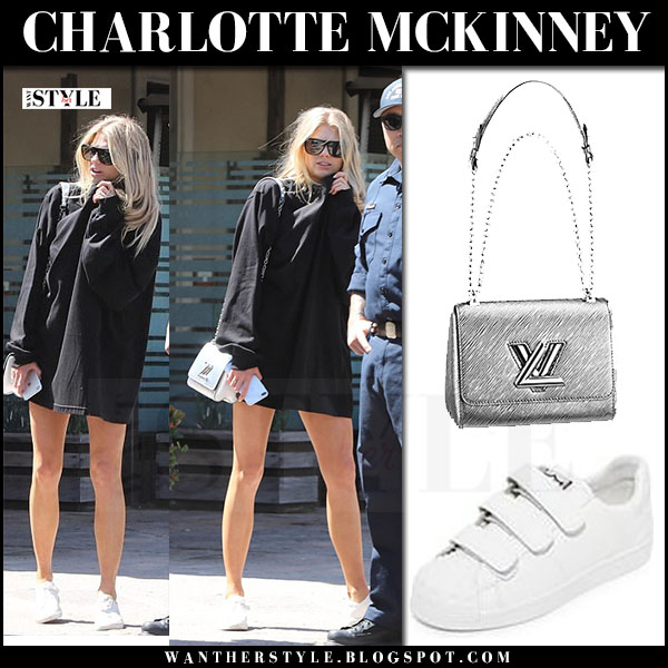 Charlotte McKinney in black sweatshirt and white ash velcro sneakers what she wore march 2017