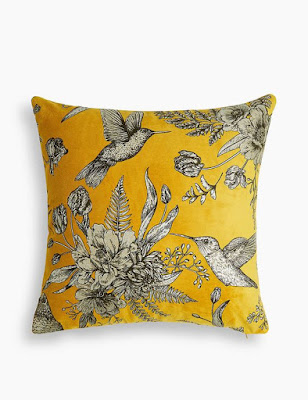 Yellow and Black Toile Pillow