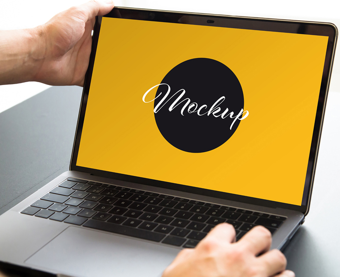 Close Up Hands Opening Laptop Mockup
