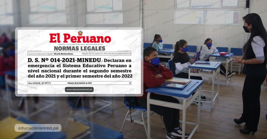 YA ES OFICIAL: Gobierno declara en Emergencia el Sistema Educativo a nivel nacional (D. S. Nº 014-2021-MINEDU)