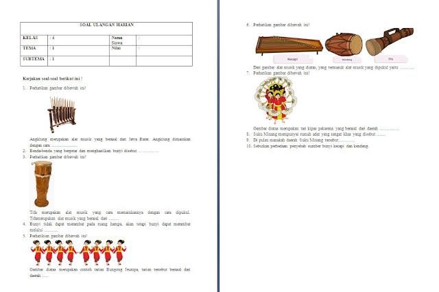 Soal Harian Kelas 4 SD/MI: Tema 1