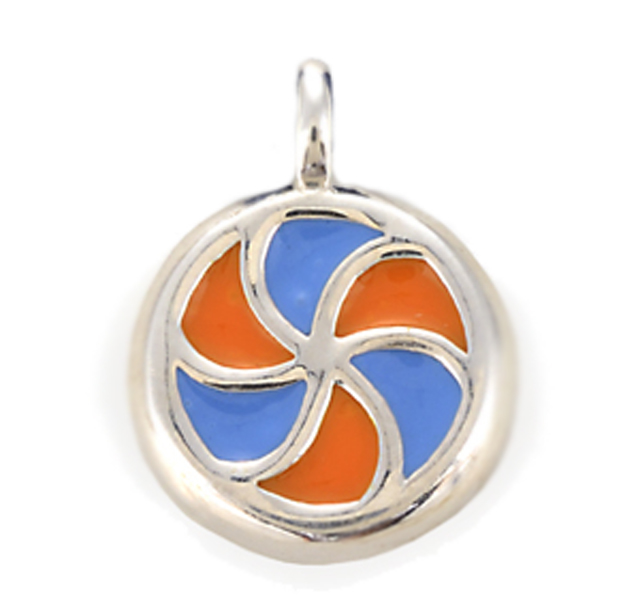 21d6f5c5c5f The Sterling Silver Lollipop Swirl Charm features the Iconic Orange and  Blue Lollapalooza Logo colors. The charms are available on blue leather  cords, ...