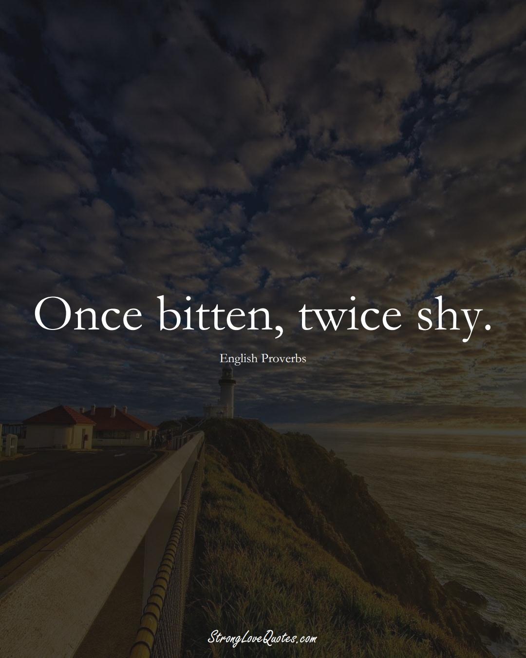 Once bitten, twice shy. (English Sayings);  #EuropeanSayings